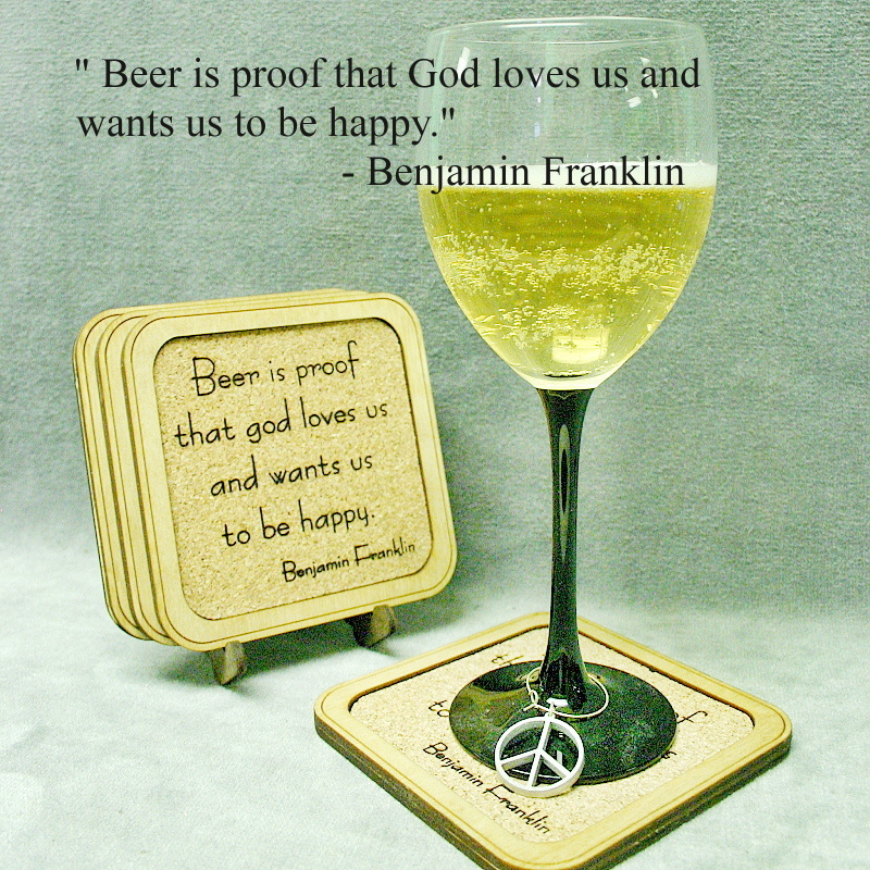 Ben Franklin Beer Quote: Cork Coasters Ben Franklin Quote [Cork Coaster Ben
